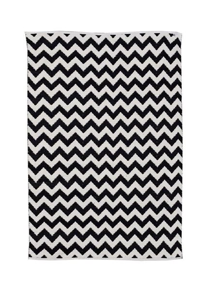 שטיח כותנה זיגזג שחור-שמנת