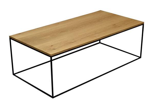"""שולחן מתכת בשילוב פורניר אלון 120/60 גובה 40 ס""""מ"""