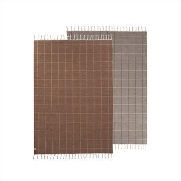שטיח משבצות - קרמל/לבן שבור